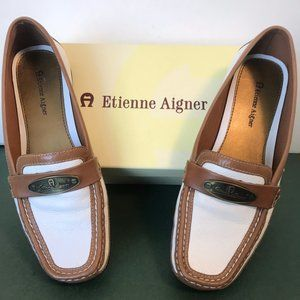Etienne Aigner Wrina Tan and Cream Loafers